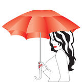 The girl with the umbrella. Beauty with a red umbrella on a white background Royalty Free Stock Image