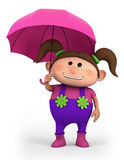 Girl with umbrella. Cute school girl with umbrella - high quality 3d illustration Stock Photography