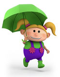 Girl with umbrella. Cute school girl with umbrella - high quality 3d illustration Royalty Free Stock Photos
