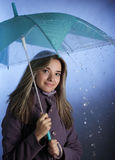 Girl with umbrella. Beauty girl with umbrella under rain Royalty Free Stock Photos