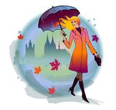 Girl with umbrella. Young girl with umbrella in the autumn town Stock Images