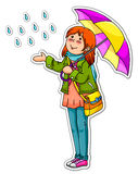 Girl with umbrella. Young girl with an umbrella on a rainy day Stock Photography