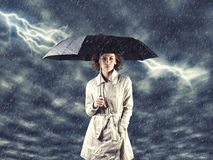 Girl with umbrella. Photo of the girl with umbrella in a hand Royalty Free Stock Photo