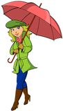 Girl with Umbrella. Vector illustration of a pretty blonde girl with an open umbrella smiling and walking Stock Images
