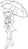 Girl with Umbrella. Vector illustration of a pretty blonde girl with an open umbrella smiling and walking Stock Image