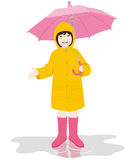 Girl with umbrella. Young girl with pink umbrella and yellow raincoat on the puddle on white background Royalty Free Stock Images