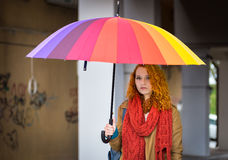 Girl with umbrella. Royalty Free Stock Photography