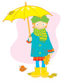 Girl with umbrella. And leaves Stock Illustration