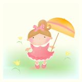 Girl with umbrella. Pastel colors. Mesh. Vector. EPS and JPEG stock illustration