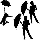 Girl And Umbrella Stock Photos