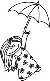 Girl with umbrella. Happy little girl with umbrella. vector image Stock Images