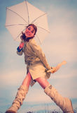 Girl and umbrella Royalty Free Stock Photography