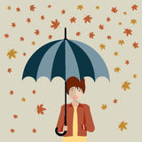 Girl with umbrella. Autumn. Flat royalty free illustration