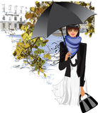 Girl with an umbrella on a background of autumn leaves. Vector illustration of girl with an umbrella on a background of autumn leaves Stock Photos