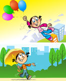 A girl with an umbrella and balloons. The girl goes to town with an umbrella.The girl is flying over the city on balloons.Illustration made on individual layers Royalty Free Stock Image