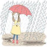 Girl with umbrella. Girl with big red umbrella Royalty Free Stock Photos