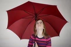 Girl with umbrella. Blond little girl with umbrella Stock Photos