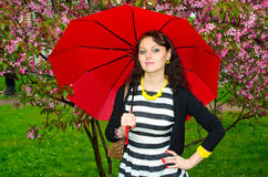 Girl with umbrella in the cherry blossoms Royalty Free Stock Photo