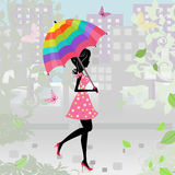 Girl with an umbrella in the city Royalty Free Stock Photo