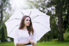 Girl with umbrella, close-up Royalty Free Stock Images