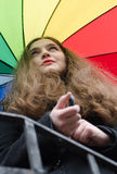 Girl with umbrella. Girl with color palette umbrella Stock Images