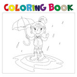 Girl with umbrella coloring book. Coloring book for children. Girl running with an umbrella in the rain vector illustration