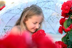 Girl with umbrella in colors Royalty Free Stock Photo
