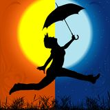 Girl with Umbrella - Day and Night stock illustration