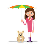 Girl with umbrella and dog. The girl is standing and holding an open umbrella, and next to her is a dog. Illustration in flat style. Isolated Stock Images