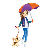 Girl With Umbrella And Dog. Vector illustration of fashion city girl in walking with dog and hold umbrella Stock Photo