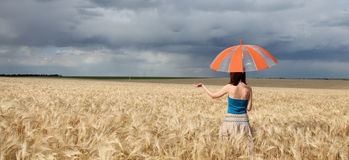 Girl with umbrella at field. Royalty Free Stock Photos