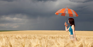 Girl with umbrella at field. Panoramic photo Royalty Free Stock Photography
