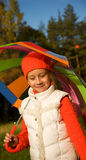 Girl with umbrella in a forest Royalty Free Stock Images