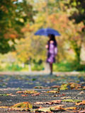 Girl with umbrella in forest Stock Image
