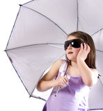 Girl with umbrella and glasses Royalty Free Stock Photography