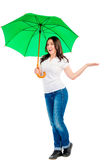 Girl with an umbrella green Royalty Free Stock Photos