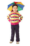 Girl in umbrella hat standing and smiling. Little girl in umbrella hat standing and smiling, looking at camera, isolated on white Stock Photography