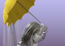 Girl with umbrella. Girl holding a yellow umbrella over her head, on a light blue background, 3D illustration Royalty Free Stock Photography