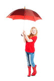 Girl with umbrella isolated on white Stock Photos