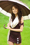 Girl with umbrella oudoors Royalty Free Stock Photo