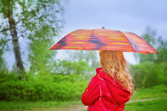 girl with umbrella outdoor Stock Photos