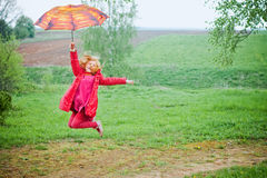 Girl with umbrella outdoor Royalty Free Stock Photo