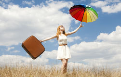 Girl with umbrella at outdoor. Royalty Free Stock Photos