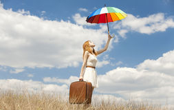 Girl with umbrella at outdoor. Royalty Free Stock Photography