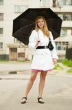 Girl   with umbrella outdoors Royalty Free Stock Photos