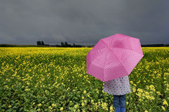 Girl with umbrella , outdoors Stock Photo
