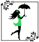 Girl with umbrella in a patterned frame Stock Photos