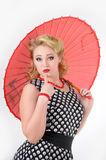 Girl with umbrella picture in the style of the 60s Royalty Free Stock Photo