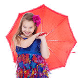 Girl with umbrella posing in studio. Stock Photography