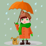 Girl with an umbrella and a puppy. Girl with big orange umbrella and a puppy at the feet Royalty Free Stock Image